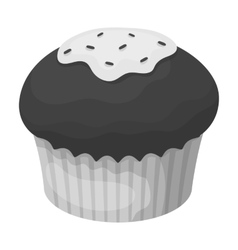 Chocolate cupcake icon in monochrome style vector image