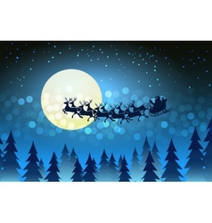 christmas background with santa driving his sleigh vector image