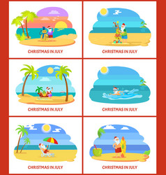 Christmas in july image on beach vector