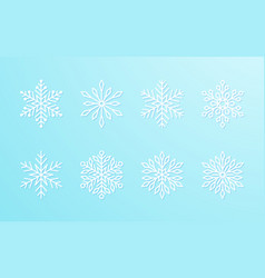 christmas snowflakes collection white isolated vector image
