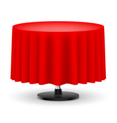 classic round table with long red cloth isolated vector image