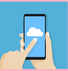 Cloud icon on smartphone screen vector