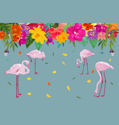 colorful realistic tropical flower backdrop with vector image