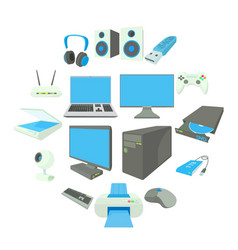 Computer equipmen icons set cartoon style vector