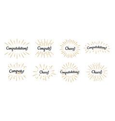 Congratulations lettering congrats label cheers vector