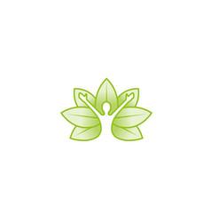 creative green leaves human silhouette logo vector image