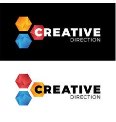 creative three hexagon honeycomb comet logo vector image