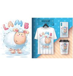 Cute lamb - poster and merchandising vector