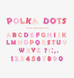 Cute polka dots font in pastel pink paper cutout vector