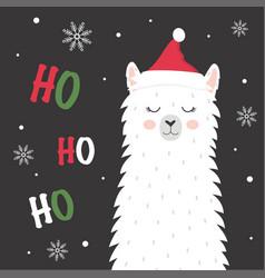 cute winter llama vector image