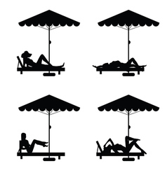 Deckchair and umbrella with woman on it vector
