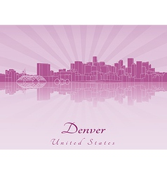 Denver skyline in purple radiant orchid vector