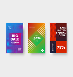 design set color gradient banners for mobile vector image