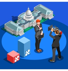 Election News Infographic Capitol Dome Isometric vector