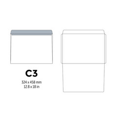 envelope c3 template for a4 a5 paper with cut vector image