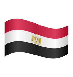 flag of egypt waving on white background vector image