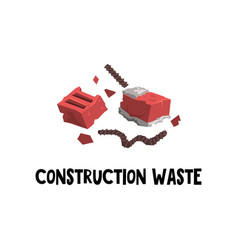 Flat icon of construction garbage red vector