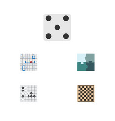 Flat icon play set of chess table gomoku jigsaw vector