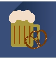Flat icon with long shadow glass beer and snack vector