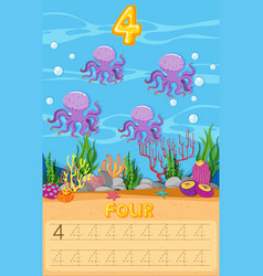 Four octopus underwater worksheet vector