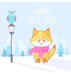 fox winter vector image