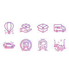 Free delivery car and opened box icons set metro vector