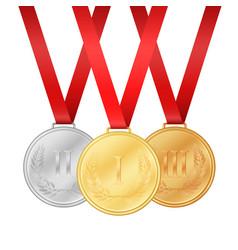gold medal silver medal bronze medal medals set vector image