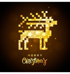 Greeting card with gold shiny reindeer vector image