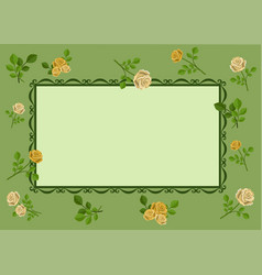 greeting card with yellow roses on green vector image