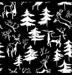 Hand drawn winter seamless pattern with deer and vector