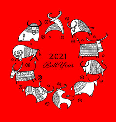happy new year card 2021 bull ox cow template vector image