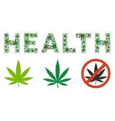 Health text collage of marijuana vector