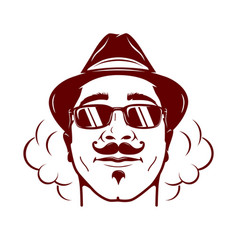 hipster face with mustache stylish hat and soke vector image
