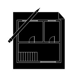 house planrealtor single icon in black style vector image