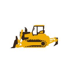 Icon bulldozer construction machinery vector