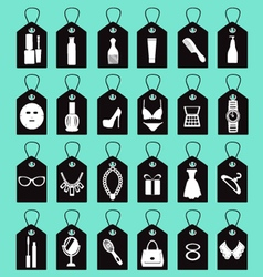 Icon set of beauty shopping women accessories vector