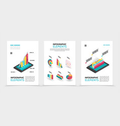 isometric business infographic posters vector image