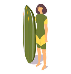 Isometric woman athlete character in green vector