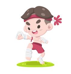 Little muay thai fighter training cartoon vector