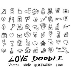 Love doodle icon set isolated hand vector