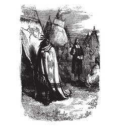 man preaching to native americans vintage vector image