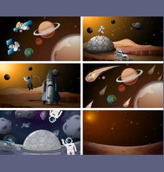 Mars space scene set vector