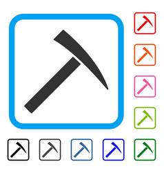 Mining hammer framed icon vector