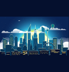 modern cityscape in the evening big city scene vector image vector image