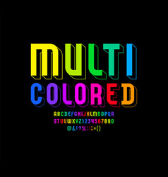 Multi colored font trendy 3d alphabet modern vector