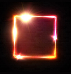 Neon square sign on black brick wall background vector