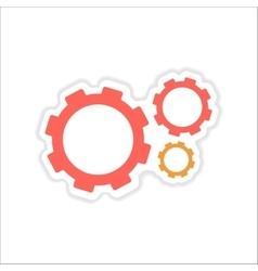 Paper sticker on white background gears teamwork vector