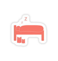 Paper sticker on white background sleeping man vector