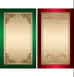 red and green vintage backgrounds with gold vector image