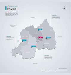 Rwanda map with infographic elements pointer marks vector